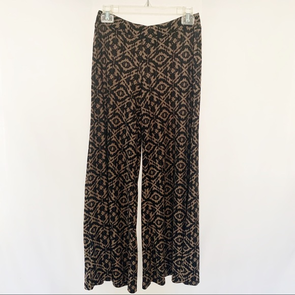 French Laundry Pants - French Laundry Palazzo Pants Black & Brown Print